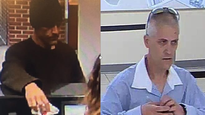 David Walker, 40, of Collingswood is accused of robbing banks in Haddon Heights, left, and Haddon Township.