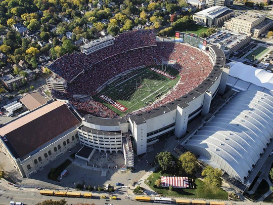 An aerial view of Camp Randall Stadium.