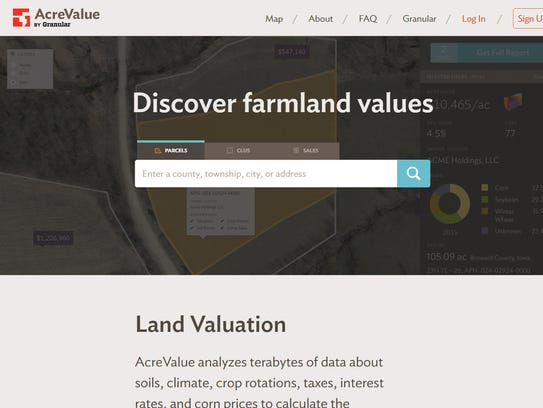 A screen capture of the AcreValue website, which allows
