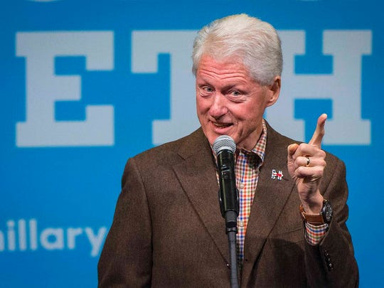 Former President Bill Clinton holds an early voting event on Simpson College's campus in Indianola Wednesday Oct. 12, 2016, working to convince Iowans to vote for Hillary Clinton.