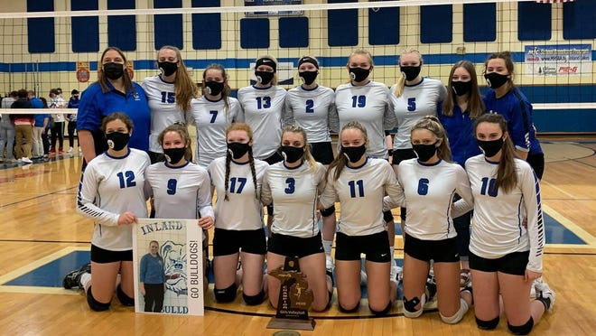 The Inland Lakes volleyball team claimed a second consecutive district title after earning a 3-0 victory over Alanson in Indian River on Saturday.