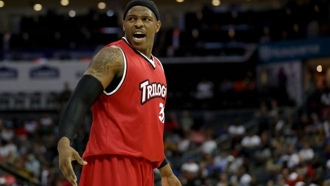 Rashad McCants #32 of Trilogy reacts during week two of the BIG3 three on three basketball league at Spectrum Center on July 2, 2017 in Charlotte, North Carolina.  (Photo by Streeter Lecka/Getty Images) ORG XMIT: 700058227 ORIG FILE ID: 805731304