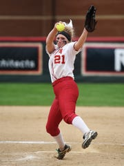 Sheridan grad Gabby Johnson fires a pitch during Otterbein's 8-1 win against Muskingum on Friday in the first round of the Ohio Athletic Conference Tournament.