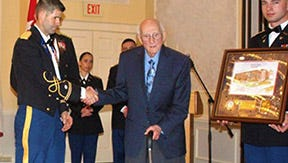 The Shippensburg University Army ROTC inducted World War II veteran Joseph Giacobello into the William H. Burkhart Hall of Fame during the ROTC annual former dinner on Feb. 24, 2017.