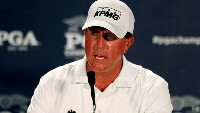 Phil Mickelson speaks to the media during a practice round for the 2016 PGA Championship  at Baltusrol Golf Club on July 26.