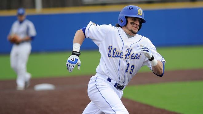 Delaware's Zach Lopes, who played for Salesianum, runs home to score in the first inning against Hofstra at Hannah Stadium in Newark.