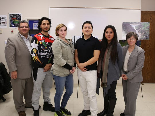 Left to right: José Carlos Montes, chief executive officer of the Puerto Rican Action Board; students Amine Shimou of Piscataway, Kristen Sicola of Sayreville, William Gortaire of Highland Park and Jamaila Hernandez of Franklin Park; and Evelyn Rosa, director of the College's New Brunswick Center.