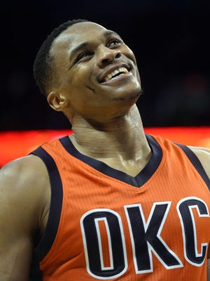 Oklahoma City Thunder guard Russell Westbrook (0) reacts after a play against the Boston Celtics during the fourth quarter at Chesapeake Energy Arena.