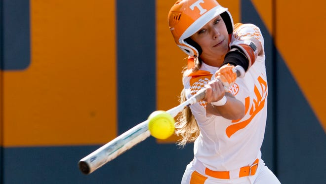 Tennessee's Scarlet McSwain, shown taking a swing against Georgia earlier this season, swung a hot bat last week against LSU and hopes to do so again this weekend at Alabama.