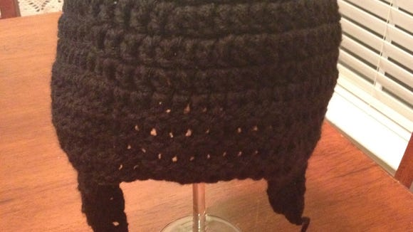 Completed base of hat and earflaps