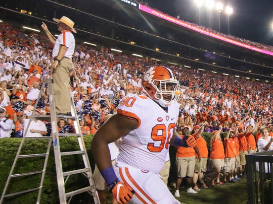 Clemson defensive lineman Dexter Lawrence (90) enters