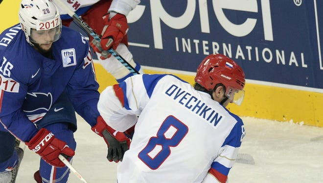 Russian forward Alex Ovechkin skates with the puck during Thursday's quarterfinal win against France.