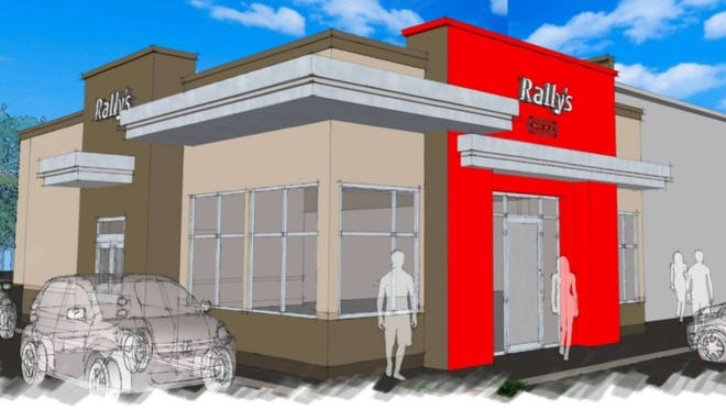 An architectural rendering shows what a Rally's drive-thru restaurant coming to Hartland Township will look like.