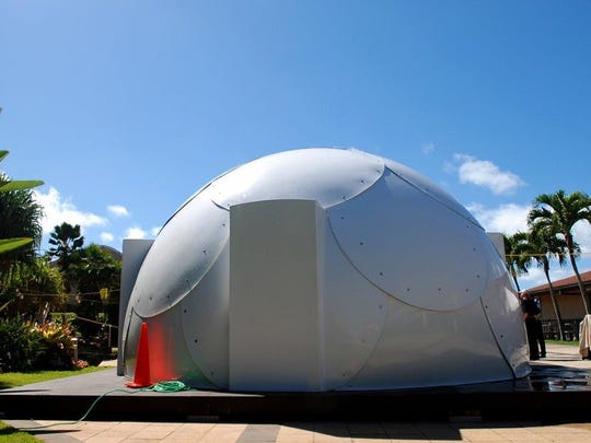 In this April 22, 2016 photo, a dome-shaped shelter is shown at the First Assembly of God church in Honolulu. The church is looking into an unexpected solution to state's homeless crisis: they're planning to erect Alaska-made igloos to house homeless families.