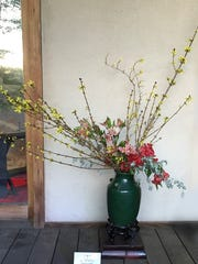 This ikebana arrangement by Carol Brecker is on display at the Japanese Friendship Garden in Phoenix.