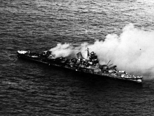 The Japanese cruiser Mikuma after bombing by U.S. planes during the Battle of Midway in June of 1942.