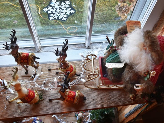 "Local artist Carol Wuollett Pinkalla created these holiday-themed decorations and pieces that were on display at the Baileys Harbor Historical Society and Visitor Center during last year's ""Harbor Holiday."""