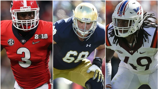 Georgia's Roquan Smith (left), Notre Dame's Mike McGlinchey and Virginia Tech's Tremaine Edmunds could be the Colts' backup plan if they don't land one of their presumed Top 3.