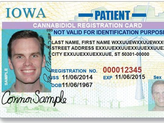 This is a mock-up of new marijuana-oil cards that Iowa has started issuing to people with severe epilepsy. The cards allow possession of the oil, but critics say they don't offer a legal way to obtain the medication. Only 25 patients have applied for them.