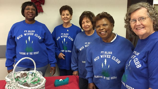 From left, Mary Jo Holifield, Mary Carr, Beatrix Sereno, Earnestine Howard and Sue Gonzales are organizing the annual Fort Bliss Holiday Bazaar.