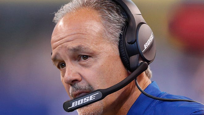 Indianapolis Colts head coach Chuck Pagano one of the many sad faces at the Colts game at Lucas Oil Stadium, Sunday, Oct 22, 2017. the Indianapolis Colts lost to the Jacksonville Jaguars 27-0.