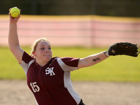 South Kitsap's Kindra Hawkinson pitched a shutout against Bellarmine on Wednesday.