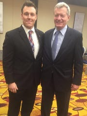 Nick Kilmarx, of Endicott, left, with Max Baucus, the U.S. ambassador to China.