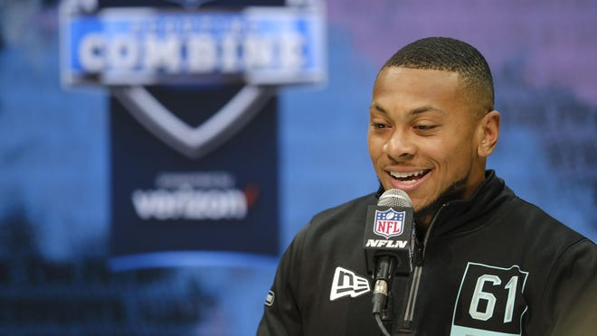 Minnesota defensive back Antoine Winfield Jr. speaks during a press conference at the NFL football scouting combine in Indianapolis on Friday.