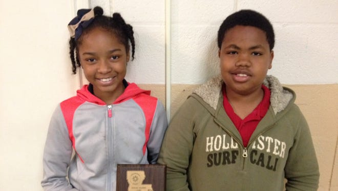 Asiana Brown and Bradley Barker won third place in the elementary school category/sociology division at the state social studies fair. The students attend Alice Boucher Elementary.