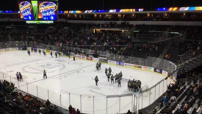 The Sioux Falls Stampede celebrate their 3-0 win over the Fargo Force on Friday night.