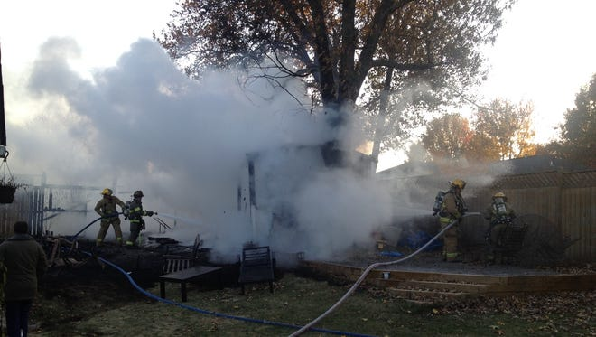 Mountain Home firefighters quickly extinguished a shed fire at 1805 Arbor Street in Southern Meadows at approximately 4:15 p.m. Tuesday.