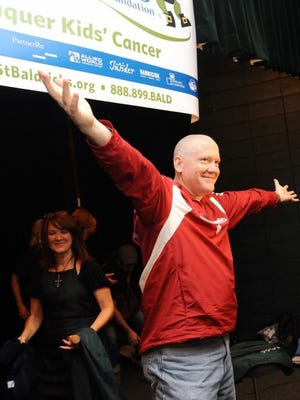 IU Athletic Director Fred Glass following his shaving for St. Baldrick's in 2011.