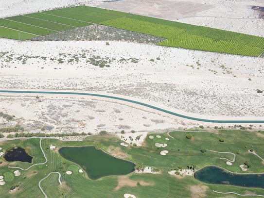 Water from the Colorado River flows through the Coachella