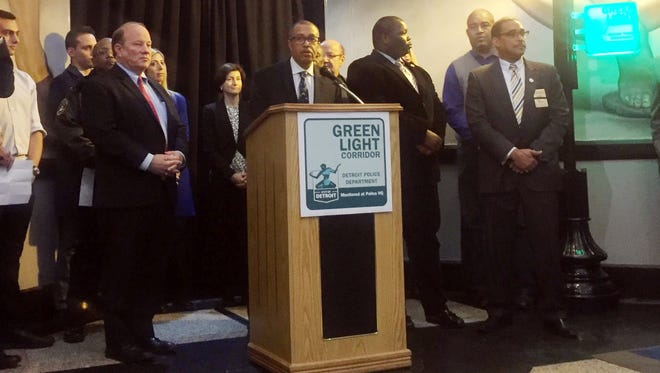 """Chief James Craig and Mayor Mike Duggan announced Tuesday, January 30, 2017, the city's first """"Green Light Corridor"""" in Greektown."""