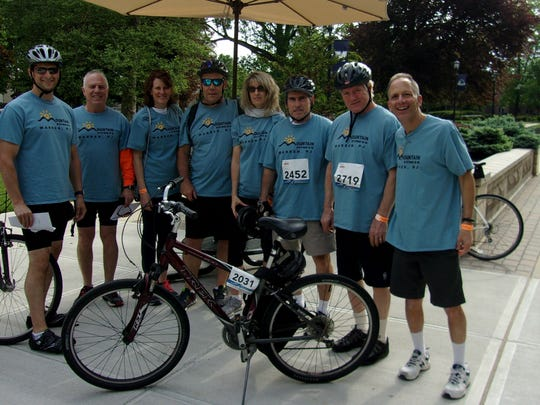 Members of Team Mountain Fitness of Warren are Jason Schneidkraut, Watchung; Bruce Cozewith, Watchung; Doris Zanchelli, Millington section of Long Hill; Mike and Kim Woerner, Warren; Paul Busch, Millington; Lee Barnes, Millington; and club proprietor Ed Halper, Basking Ridge section of Bernards. On May 20, Team Mountain Fitness conducted a 25-mile bike ride as a fundraiser forthe Multiple Sclerosis Society at Monmouth University in West Long Branch. Mountain Fitness raised $2,000 for the MS Society.