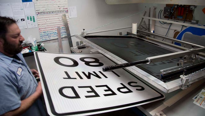 New 80 mph speed limit signs are fabricated in-house in NDOT's sign shop