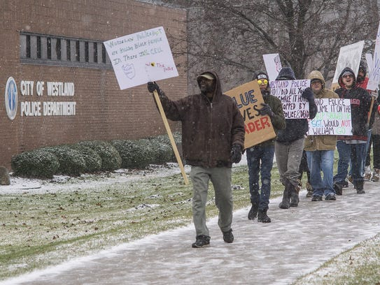 Protesting the death of William Marshall, who died while in custody of the Westland Police Department.