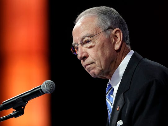 U.S. Sen. Chuck Grassley, R-Iowa, speaks during the National Governors Association meeting July 15 in Des Moines. The Senate Judiciary Committee will hold hearings on consolidation in the agriculture industry.