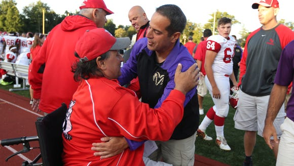 North Rockland head coach Tom Lynch, left, and long-time