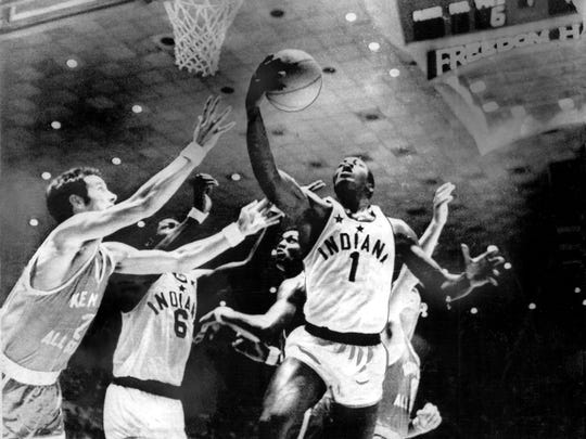 George McGinnis of Indianapolis Washington (1) in the Indiana-Kentucky All-Star Game of June 28, 1969.
