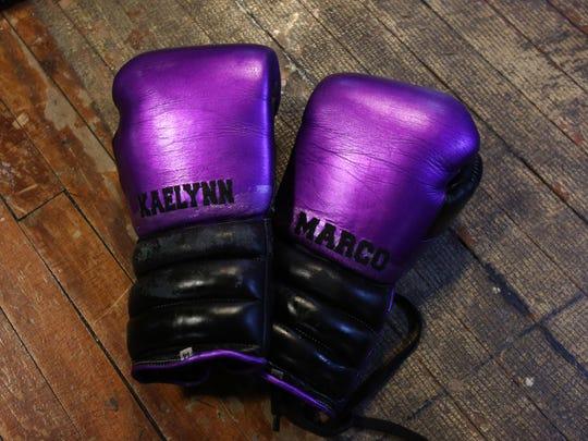 Professional boxer Natalie Gonzalez's gloves, which