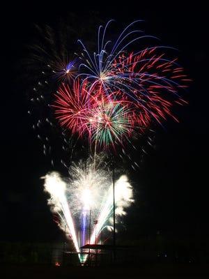 Fireworks light up the night sky over Shelby City Park.