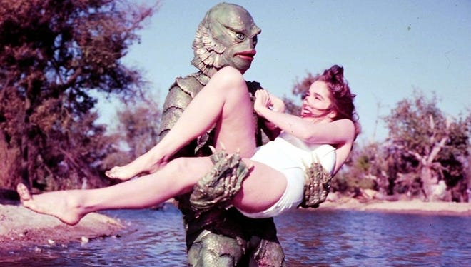 Julie Adams and the Creature from the Black Lagoon.