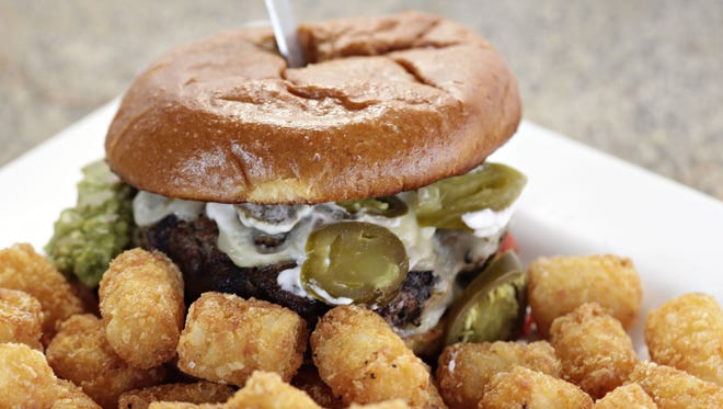 The rocky point burger with tater tots from Cold Beer and Cheeseburgers.