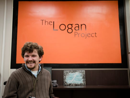 Logan Prickett, a blind student who attends AUM and namesake of The Logan Project, sits at AUM on Thursday, Nov. 16, 2017, in Montgomery, Ala.