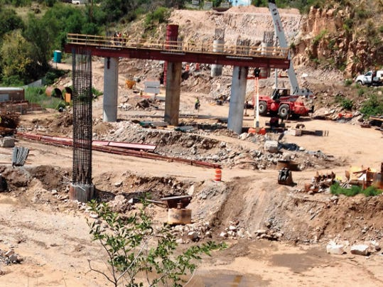 Drilling and the placement of piers for the new Hudson Street Bridge is underway, and the project is expected to be completed and open to traffic in December, DOT officials said on Wednesday in Silver City. Randal Seyler - Sun-News