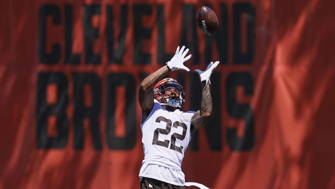 Cleveland Browns safety Grant Delpit runs through a drill during practice at the NFL football team's training facility Thursday, Aug. 20, 2020, in Berea, Ohio.