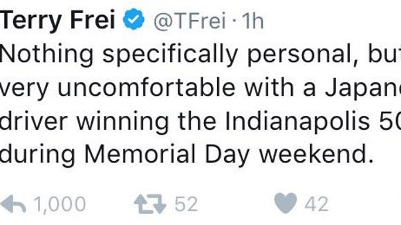 Denver Post fires writer Terry Frei for racist tweet about Indy 500 winner