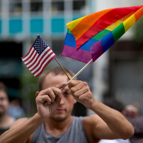 Chaunce O'Connor rallied July 2, 2014, outside a Miami courthouse  during a hearing on same-sex marriages.
