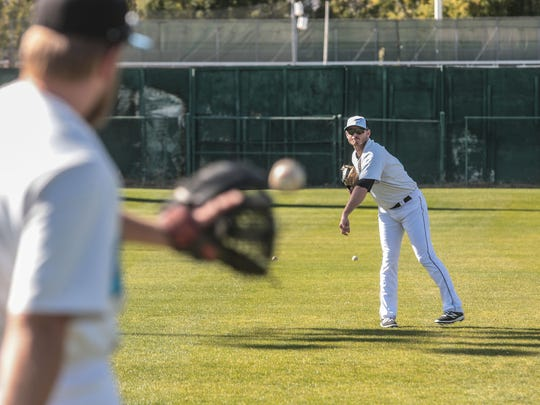 Tyler Matzek a former MLB player warms up with the Palm Springs Chill on Wednesday, January 24, 2018 in Palm Springs. Matzek is playing in the desert this winter as part of the California Winter League.